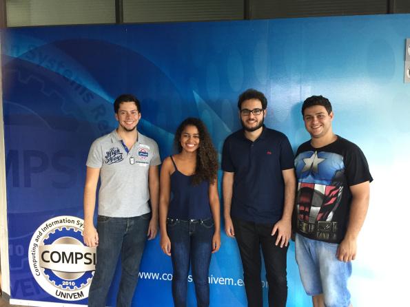 Renan Avansi Marques (BCC), Natália Pereira Oliveira (BSI), Lucas Zanco Ladeira (BCC) e Victor Ubiracy Borba (BCC)